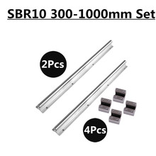 10mm Linear Rail SBR10 300/500/600/1000mm Fully Supported Slide Shaft Rod Guide with 4Pcs SBR10UU Block цена в Москве и Питере