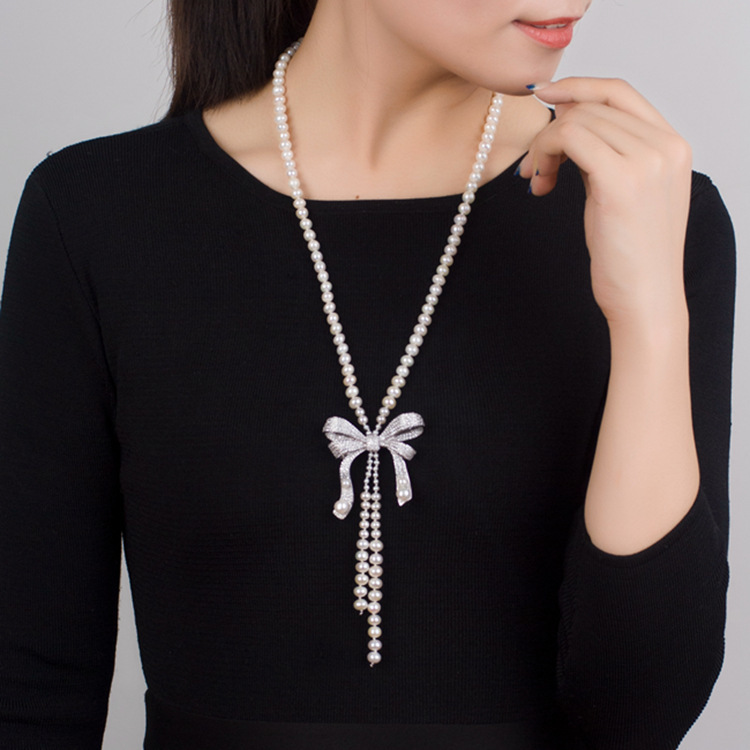 925 Silver Inlaid Zircon Calla Lily Natural Pearl Necklace Woman Long Fund Sweater Chain недорго, оригинальная цена