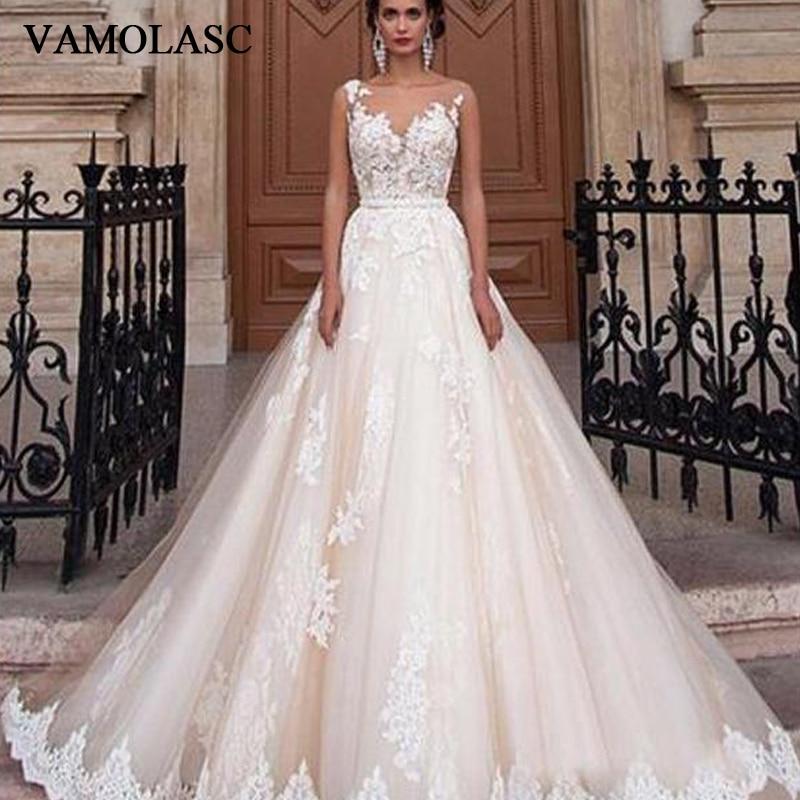 VAMOLASC O Neck Beading Sash A Line Wedding Dresses Lace Appliques Sweep Train Illusion Backless Bridal Gowns