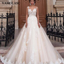 VAMOLASC O Neck Beading Sash A Line Wedding Dresses Lace Appliques Sweep Train Illusion Backless Bridal Gowns