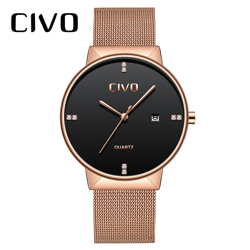 CIVO relojes de oro rosa para hombre, reloj de pulsera de cuarzo, resistente al agua, reloj de pulsera de malla de acero inoxidable para hombre - 2