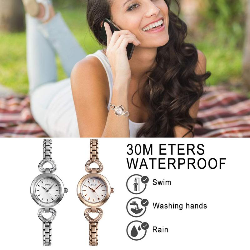Fashionable Exquisite Rhinestone Bracelet Love Type Womens Small Rose Gold WatchFashionable Exquisite Rhinestone Bracelet Love Type Womens Small Rose Gold Watch