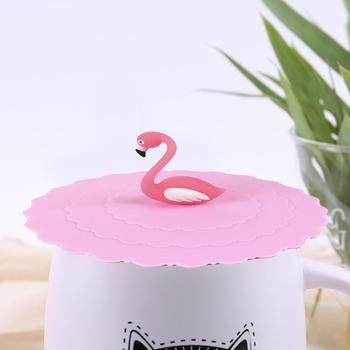 Tapa de silicona para taza de agua potable, cubierta bonita para taza de sello a prueba de polvo de flamenco, tapas para tazas de vidrio reutilizables