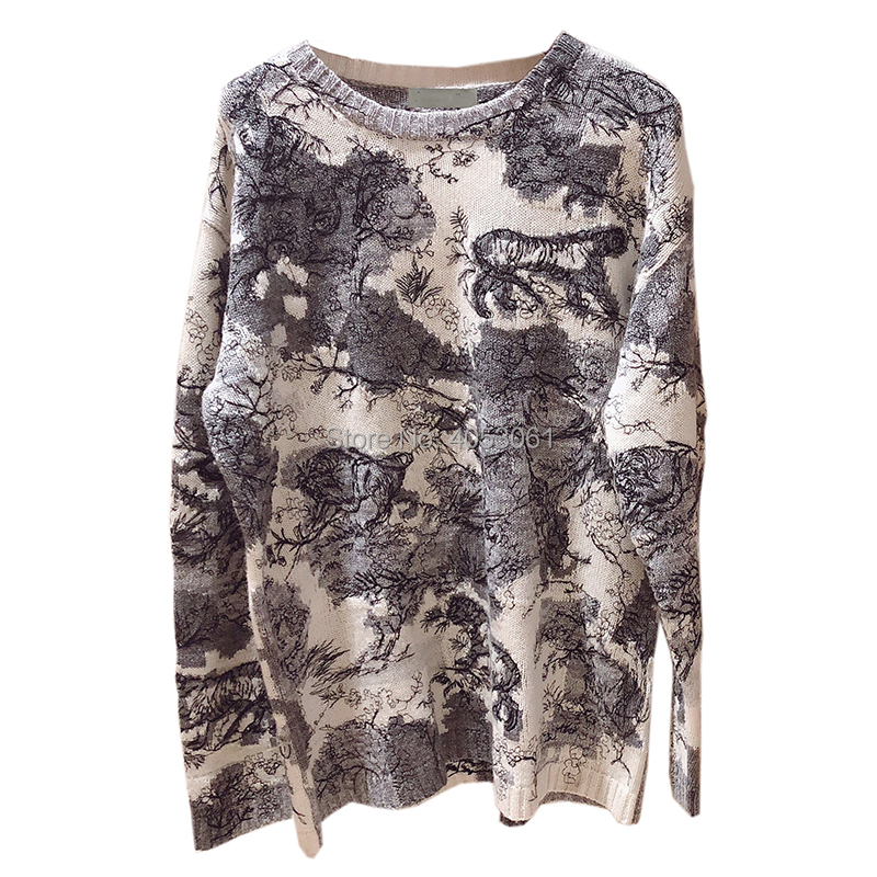 Top Quality Cashmere Forest Animal Jacquard Knit Sweater 2019 Spring Runway Fashion Style Ladies Knitted Pullover