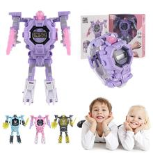 Cartoon Transformation Wristwatch Toy Creative Electronic Robot Watch For Boy Gi