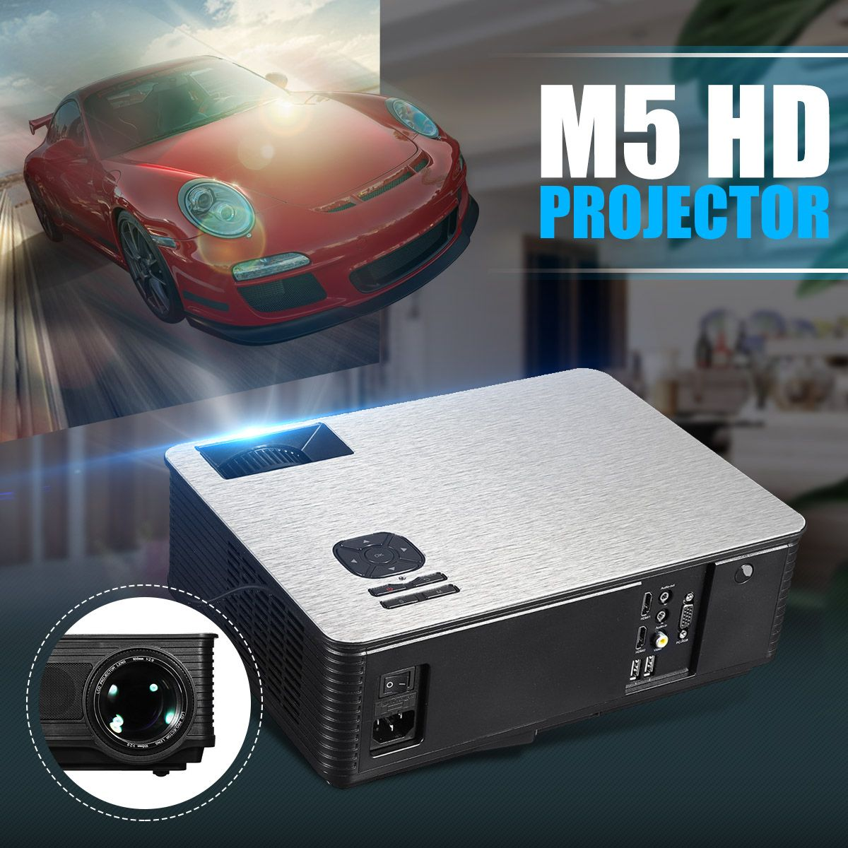 M5 projecteur à LED portable 5.8 pouces LCD projecteur 4500 Lumen 1280*800 Support 1080 P TV système de cinéma maison