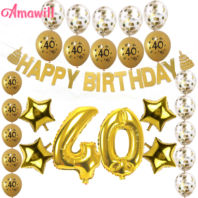 Amawill 40th Birthday Decorations Party Supplies 40 Printed Balloons Paper Banner Years Old Anniversary Accessories 8D In DIY