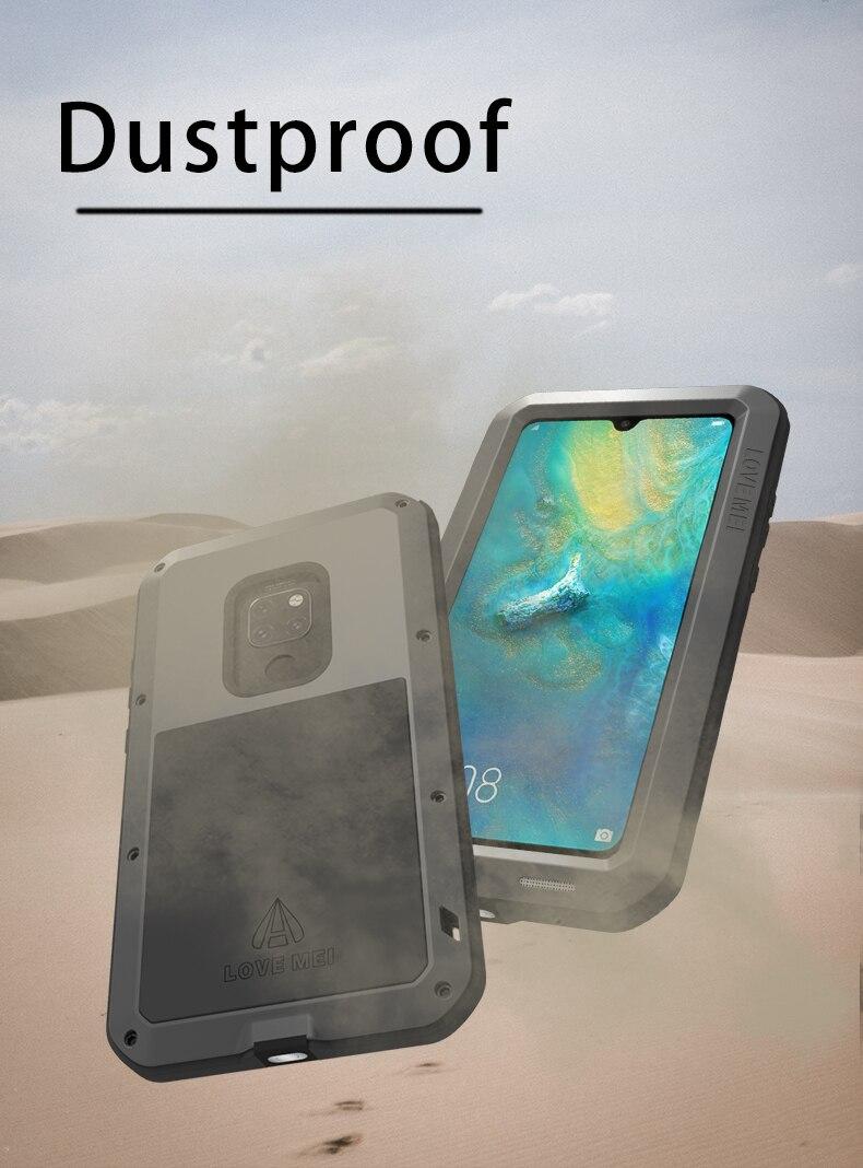 Pour Huawei P30 Pro Lite Original Lovemei aluminium métal + gorille verre choc goutte étui pour Huawei Mate 20 pro/8 9 - 5