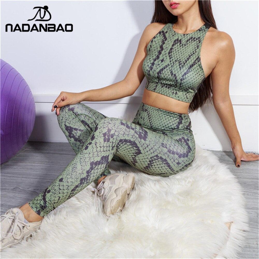 NADANBAO Sexy Snake Print Push Up High Waist Women Leggings Suit Slim Fitness Sporting Set Legging Workout Gym Elasticity Legins