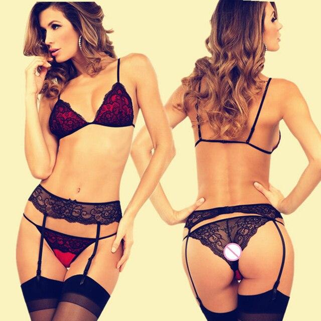8dc14b6ffe165 Charming Bra+Panties+Garter 2019 Sexy Lace Brand women s Underwear Lingerie  Bra   brief Sets belt Thin Cup no-wire intimes