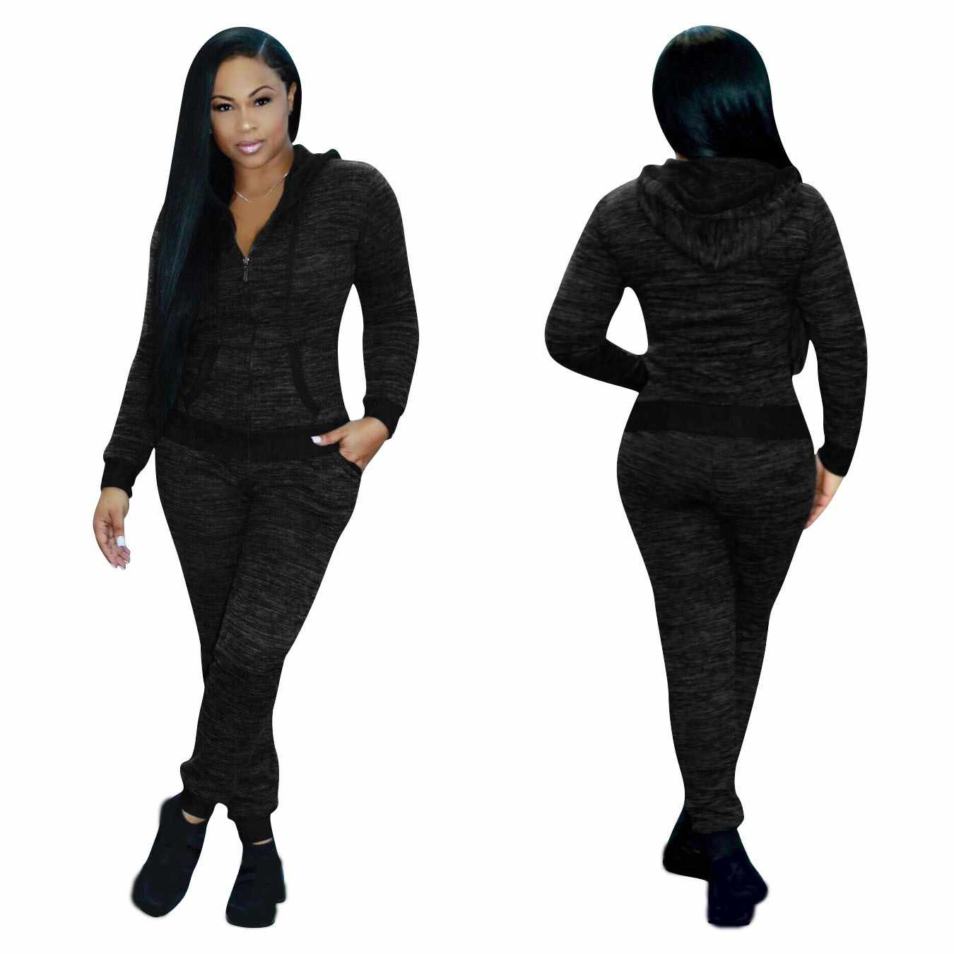 Loose Women Hooded Hoodies Solid Long Sleeve Sweatshirt Set Female Tracksuit 2 Pieces Set