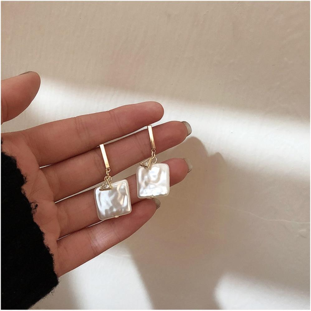 2019 corée rétro carré perle d'eau douce élégant tempérament Simple Zircon boucles d'oreilles Baroque métal fille fête dames boucles d'oreilles