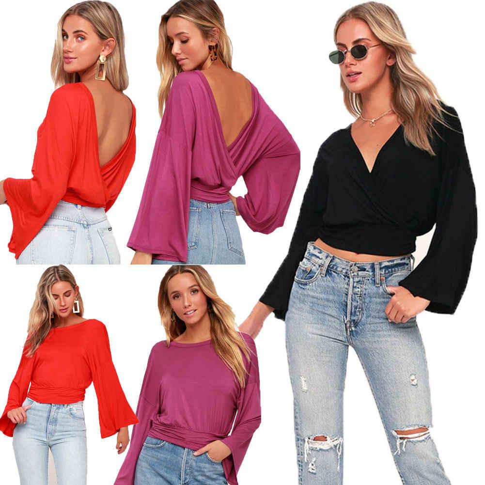 Модная Двусторонняя Женская Повседневная Однотонная футболка с длинным рукавом