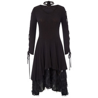 Women's Dress Gothic Victorian Long Ribbon Laced Sleeves V Neck Witchy Dress
