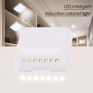 Image 4 - 7 diodo emissor de luz da noite indução pir sensor movimento inteligente noite lâmpada alimentado por bateria gabinete dobradiça luz para armário cozinha gaveta
