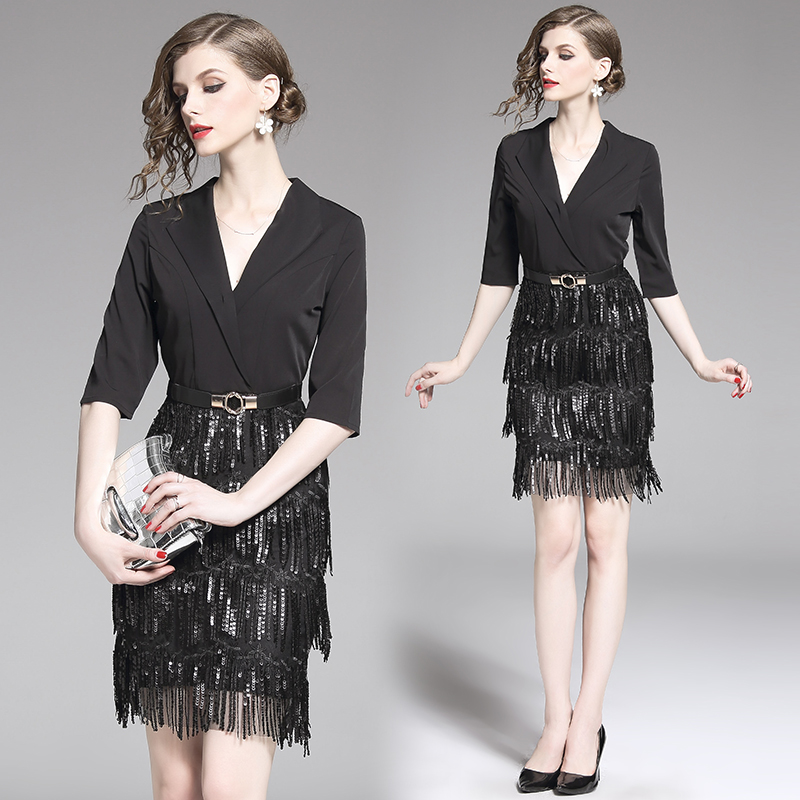Luxury Party Summer <font><b>Dress</b></font> Runway Women black Tassel <font><b>Dress</b></font> <font><b>Sexy</b></font> Slim Mesh <font><b>Dress</b></font> OL sequince club <font><b>dress</b></font> office image