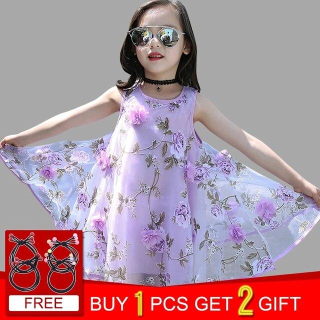 c6300283f81 Summer Girls Dress Sleeveless Flower Kids Dresses Teenage Girls Sundress 4  6 8 10 12 Years Kids Clothes Vestidos-in Dresses from Mother & Kids on ...