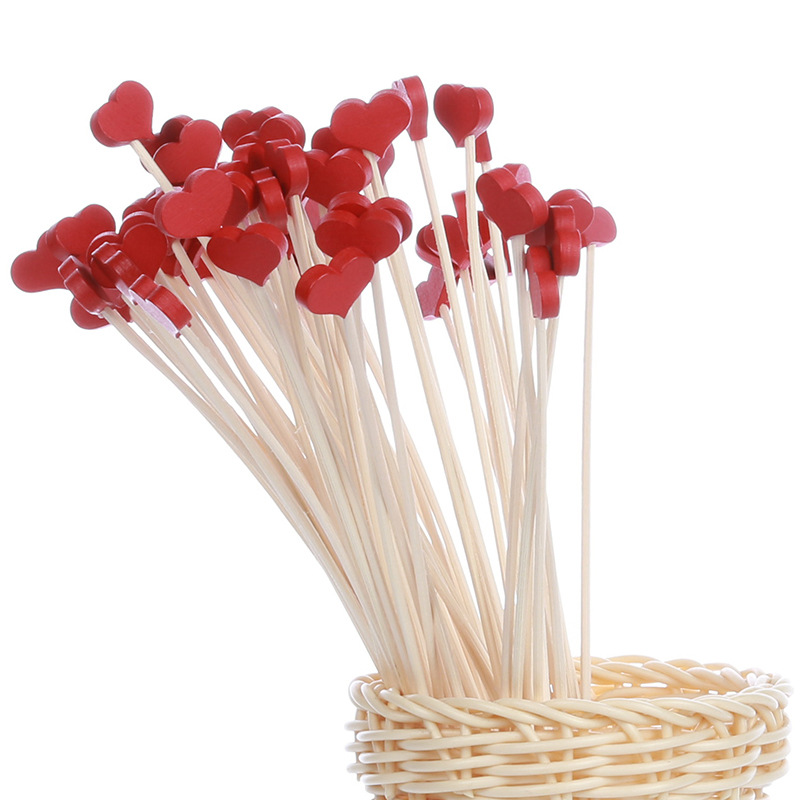 Lychee 5pcs Red Heart Wooden Reed Diffuser No Fire Aroma Diffuser Sticks Home Fragrance Aromatherapy Room Decoration