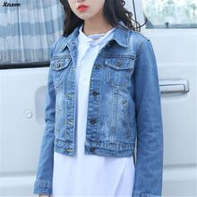 2018 Fashion Jeans Jacket Women Spring Autumn Long Sleeve Denim Jackets Female Casual Vintage Basic Coats Plus Size Outwear цена и фото