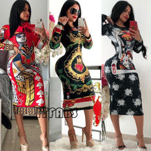 Hirigin Brand Sexy Dress Newest Vestidos 2018 New Plus Size Women Ladies Boho Floral Long Sleeve Bodycon Maxi Party