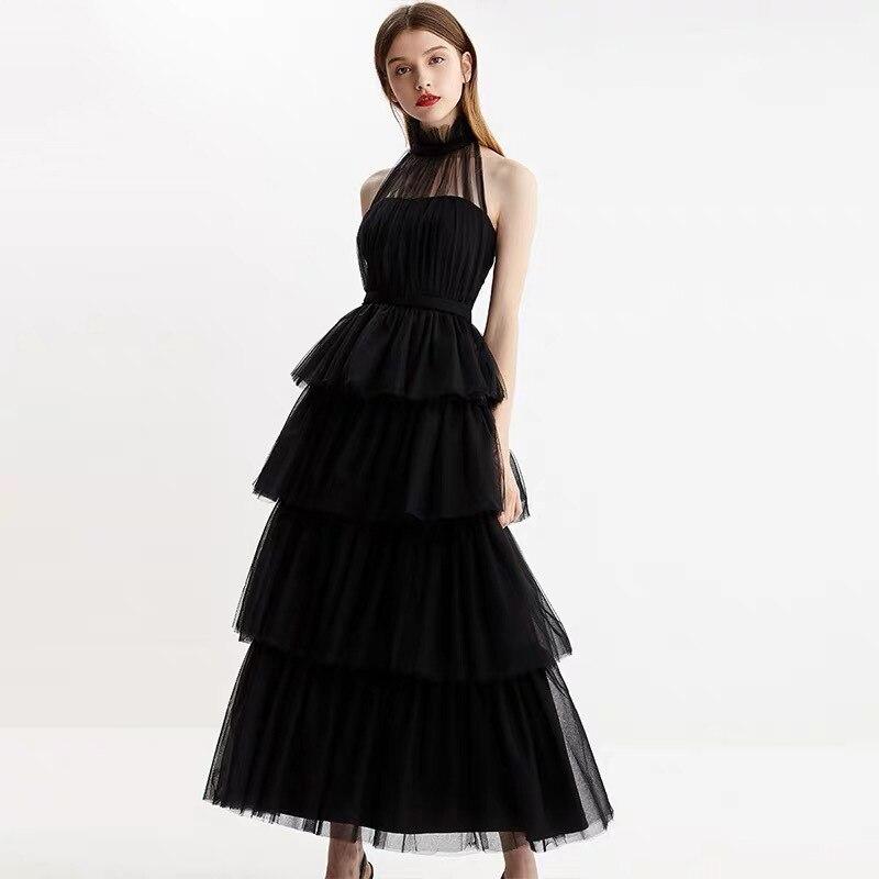 Rüsche schicht schwarz mesh transparent kleid sommer strand elegante frau party kleid ärmel promi maxi kleider damen kleid-in Kleider aus Damenbekleidung bei  Gruppe 1