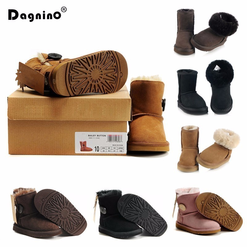 купить Kids Snow Boots Australia Children Boots Waterproof Baby Winter Boot Warm Boots For Boys Girls Cowhide Real Fur Shoes Size 25-35 онлайн