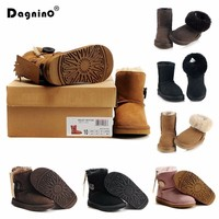 Kids Snow Boots Australia Children Boots Waterproof Baby Winter Boot Warm Boots For Boys Girls Cowhide Real Fur Shoes Size 25 35