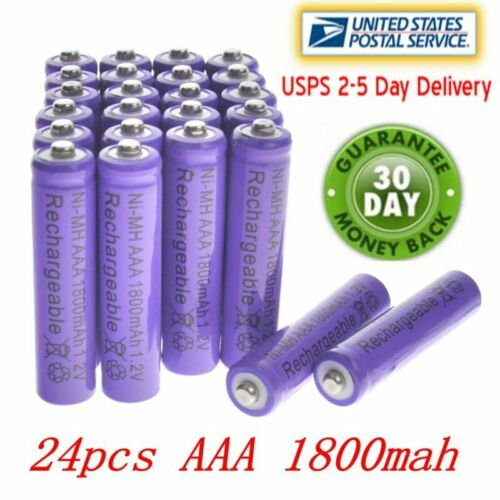 24pcs AAA 1800mAh 3A Purple Cell 1.2V Ni-MH Rechargeable battery MP3 RC Toys