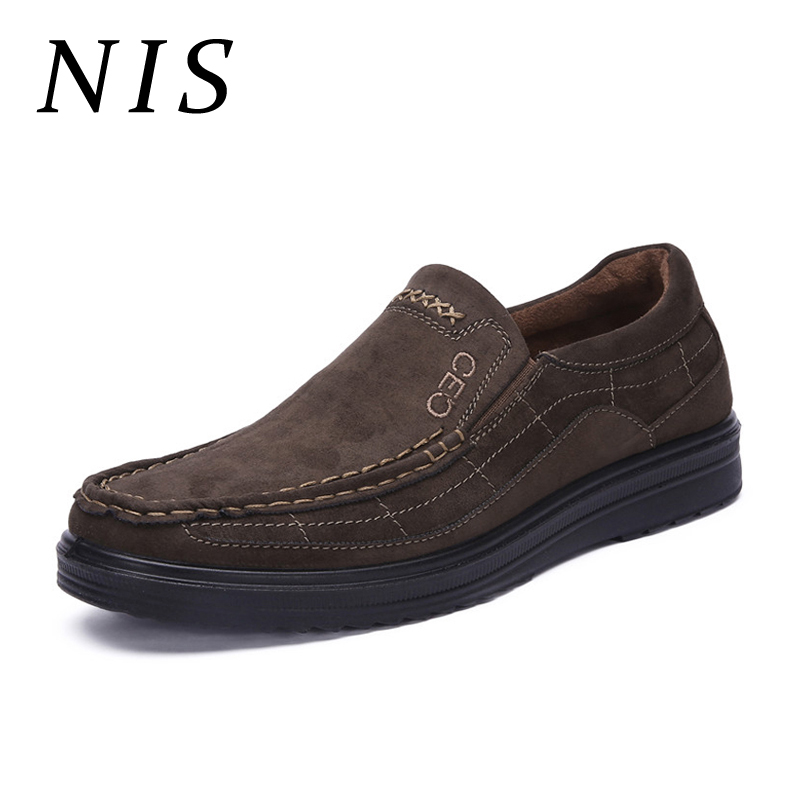 NIS Men Flat Shoes Casual Loafers Large Size Moccasins Faux   Suede     Leather   Work Office Business Shoes Antiskid Soft Sole Flats
