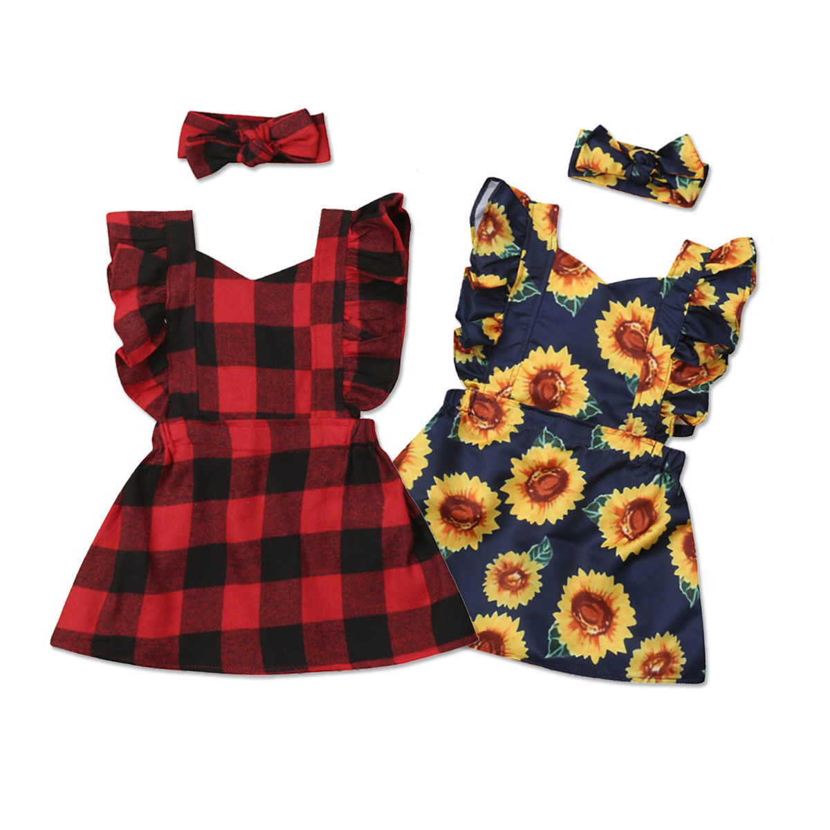 e560dabed Detail Feedback Questions about Lovely Infant Toddler Kid Baby Girl Ruffles  Sleeveless Backless Sunflower Red Plaid A line Princess Girls Dress Sundress  ...