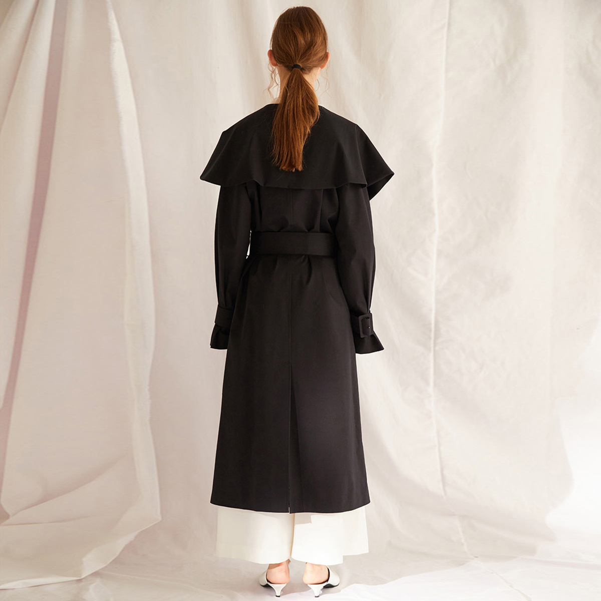 HYH haoyihui Simple Girl Sweet Big Lotus Leaf Collar Belt With Cuffs Solid Color Double Breasted Trench Coat in Trench from Women 39 s Clothing