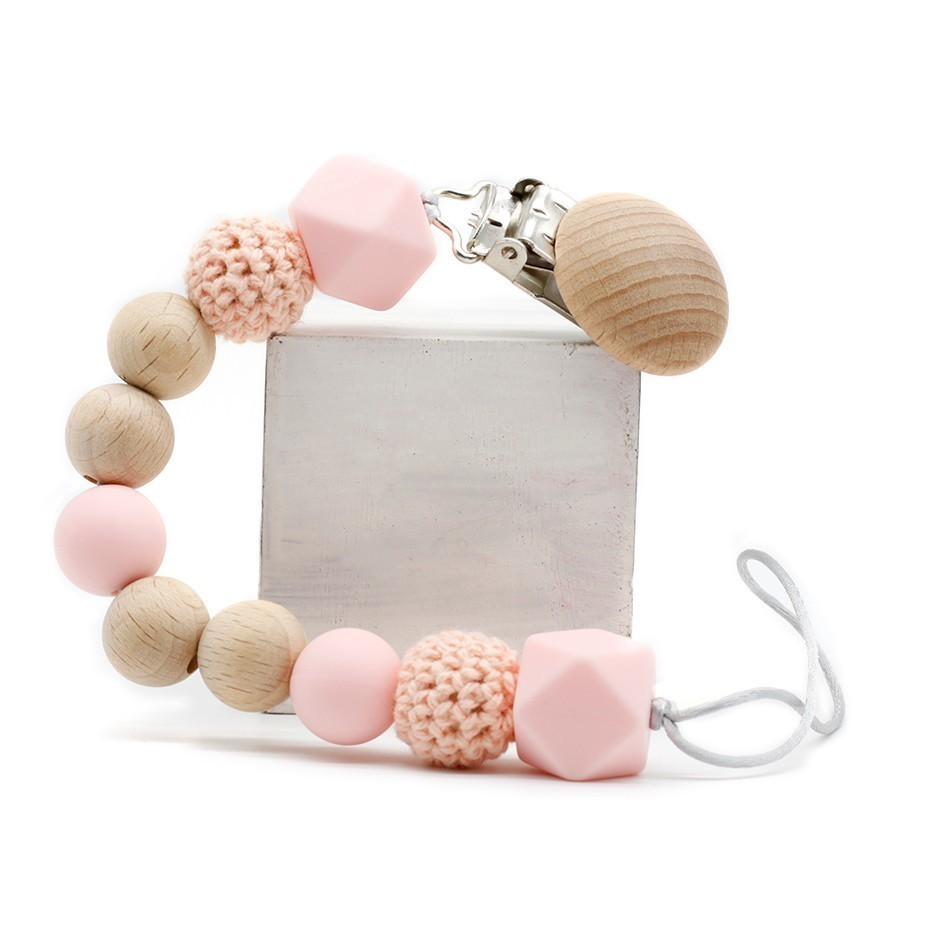 Silicone Natural Wood Crochet Chewing Beads Holder DIY Baby Pacifier Chain Clip Newborn Children Must-have Anti-fall Gifts