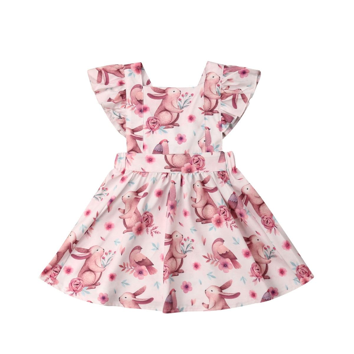 Toddle Baby Girls Kids Infant Floral Cartoon Sundress Clothes Princess Dress