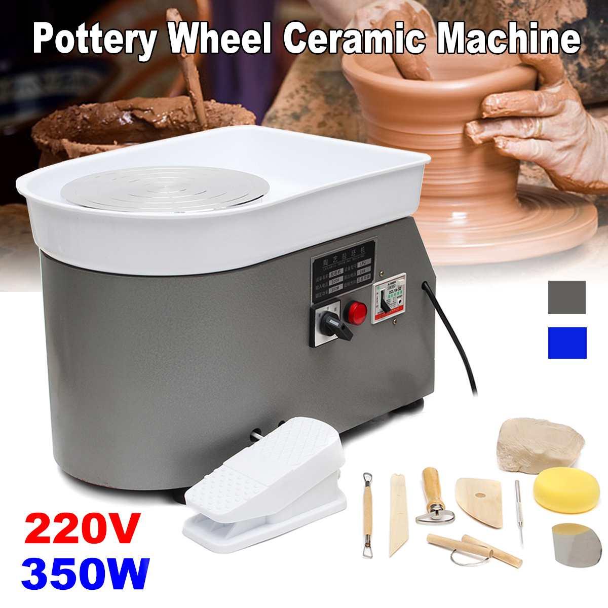 Poterie formant la Machine 220 V 350 W roue de poterie électrique argile pour travaux pratiques outil avec plateau pédale de pied Flexible pour céramique travail céramique