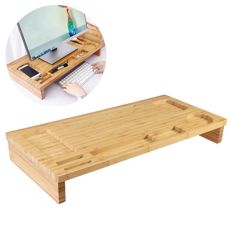 Support de moniteur en bambou avec organisateur de stockage conteneur de bureau à domicile