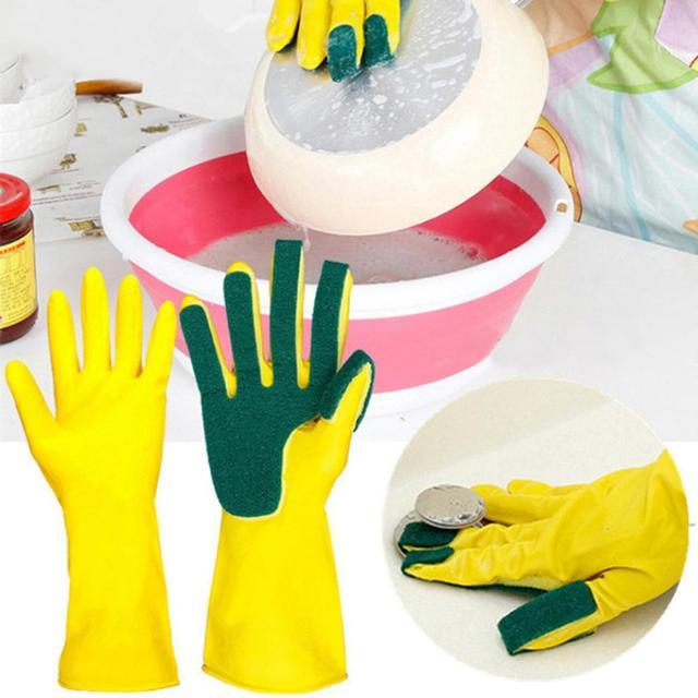 2PCS Kitchen Cleaning Gloves Reusable Sponge Fingers Household Garden Latex Washing Gloves