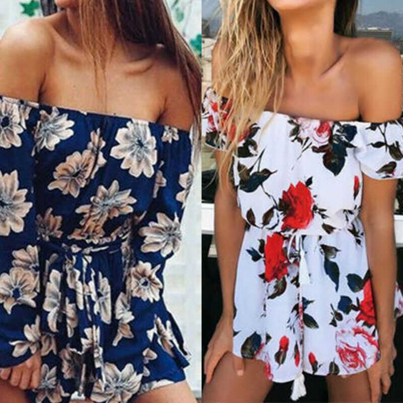 Fashion Playsuit Women Sleeveless Bodycon White Blue Elegant Jumpsuit Ladies Summer Romper Womens Flower Beach Jumpsuits Overall