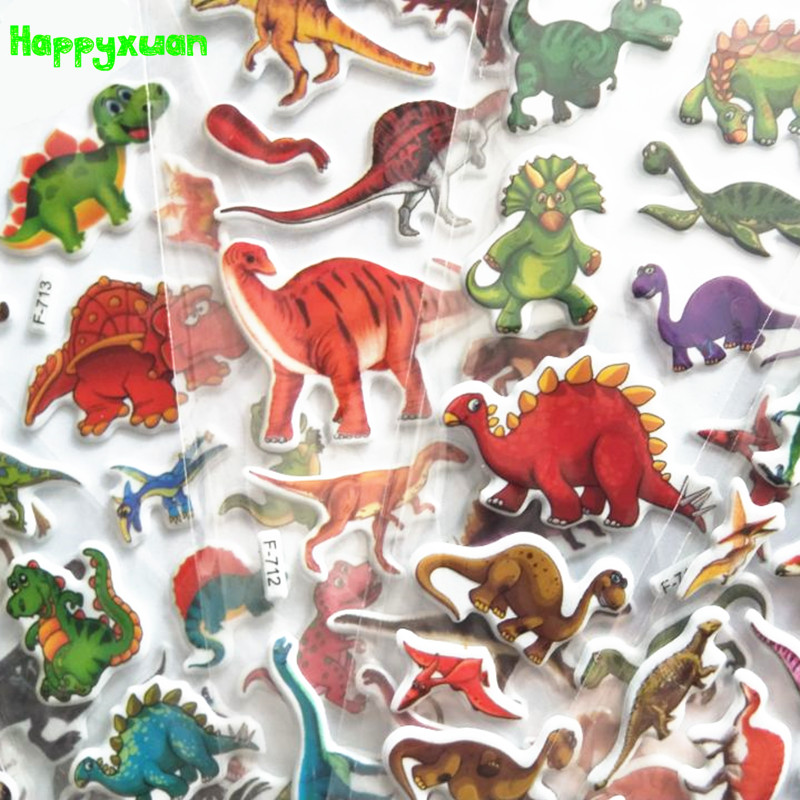 Happyxuan 12 Sheets Kids Small Cute Cartoon Dinosaur Stickers For Boys Animals Baby Reward For Teacher School Mini 3D Colorful