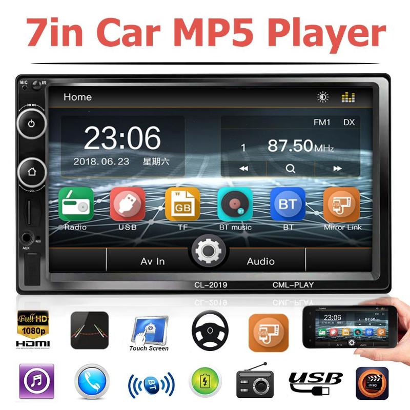 "2 Din 7"" Car Radio Touch Screen MP5 Audio Stereo Bluetooth Video Multimedia Player Car Rear View Camera for Android 4.4-8.1"