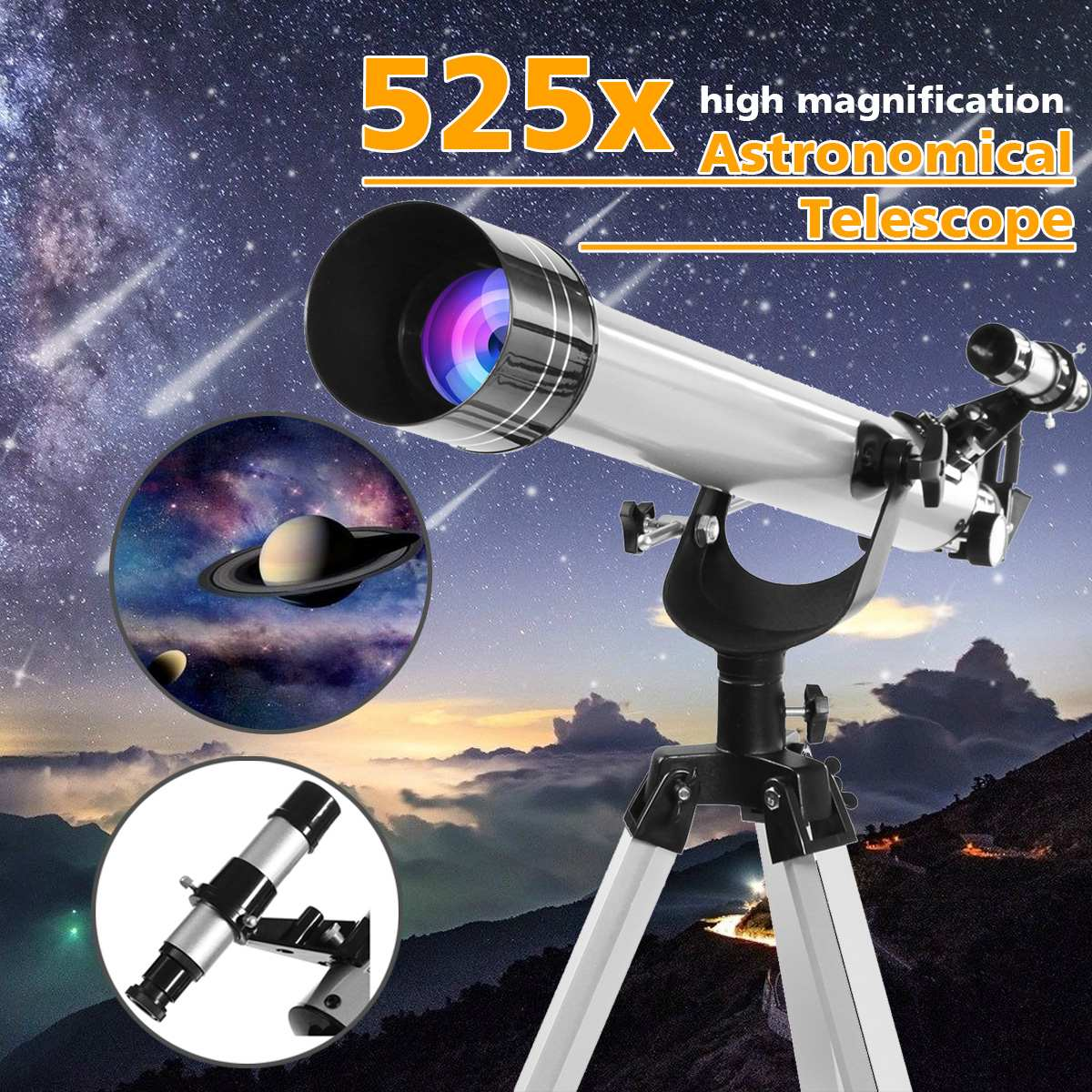 Eyepieces Scope Astronomical Refractive Observation F60700 525x Tripod-Space High-Magnification