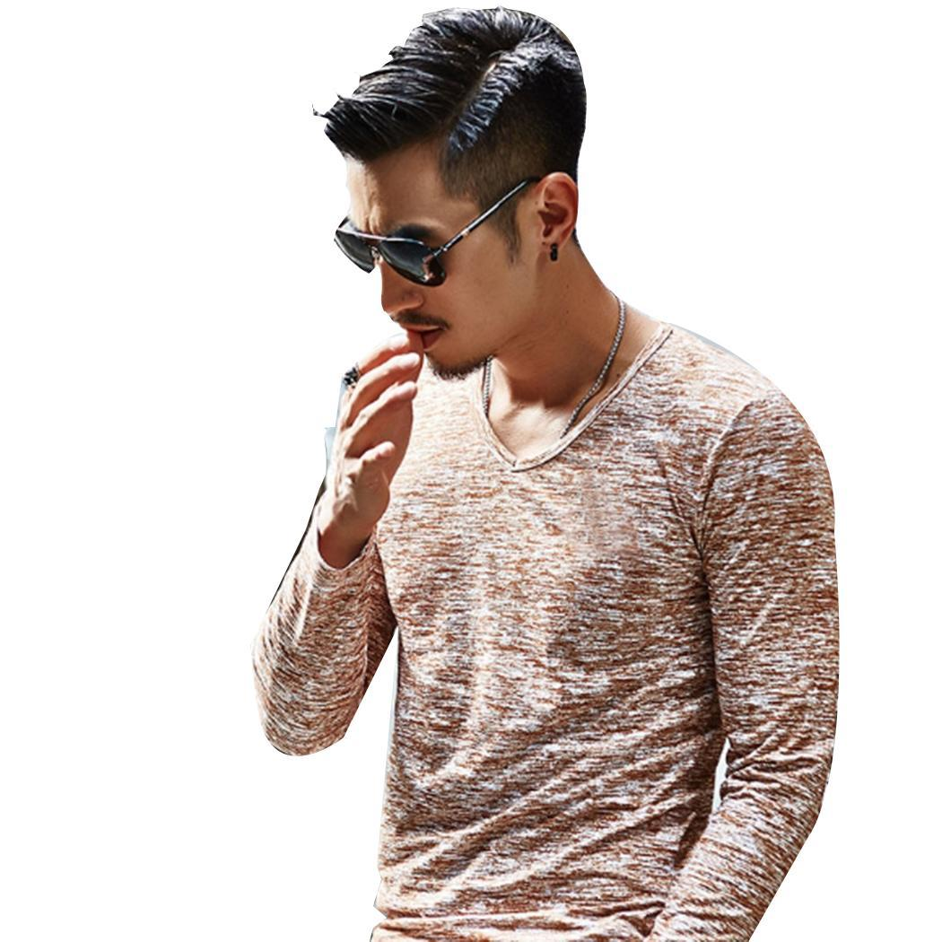 Men Fashion Casual Long Sleeve Turndown Printed Button Slim Shirt Top Collar Spring, Summer 14