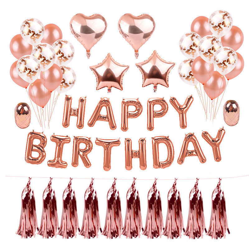 ZLJQ 10pcs Latex Helium Balloons Rose Gold <font><b>30</b></font> 40 50 60 70 80 90 Years Old Happy <font><b>Birthday</b></font> Party Anniversaire Adulte <font><b>Decorations</b></font> image
