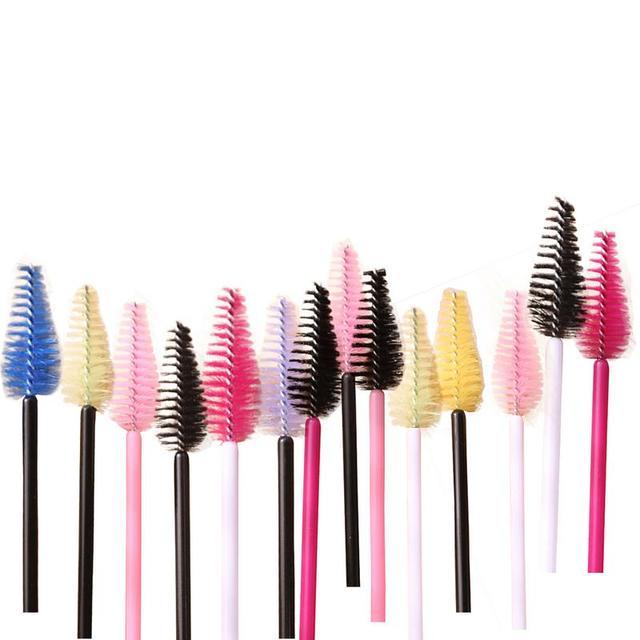 25 piezas desechables de silicona de pestañas peine cepillo varitas de rímel ojo pestañas extensión individuales aplicador ojo maquillaje de belleza