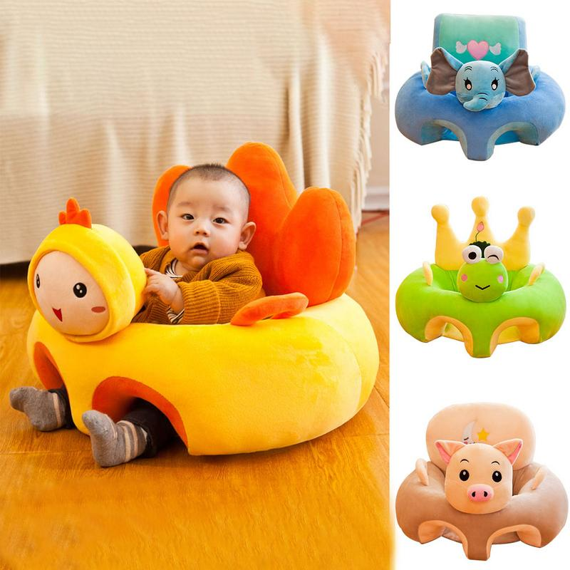 Baby Seats Sofa Cartoon Plush Support Seat Learning To Sit Baby Plush Toys PP Cotton Non-slip Bottom Infant Safety Sofa Seat