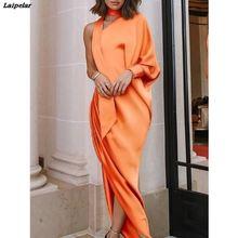 цены Off shoulder one sleeve wrap dress Women Irregular lantern sleeve long maxi dresses Elegant womens party dress vestidos mujer