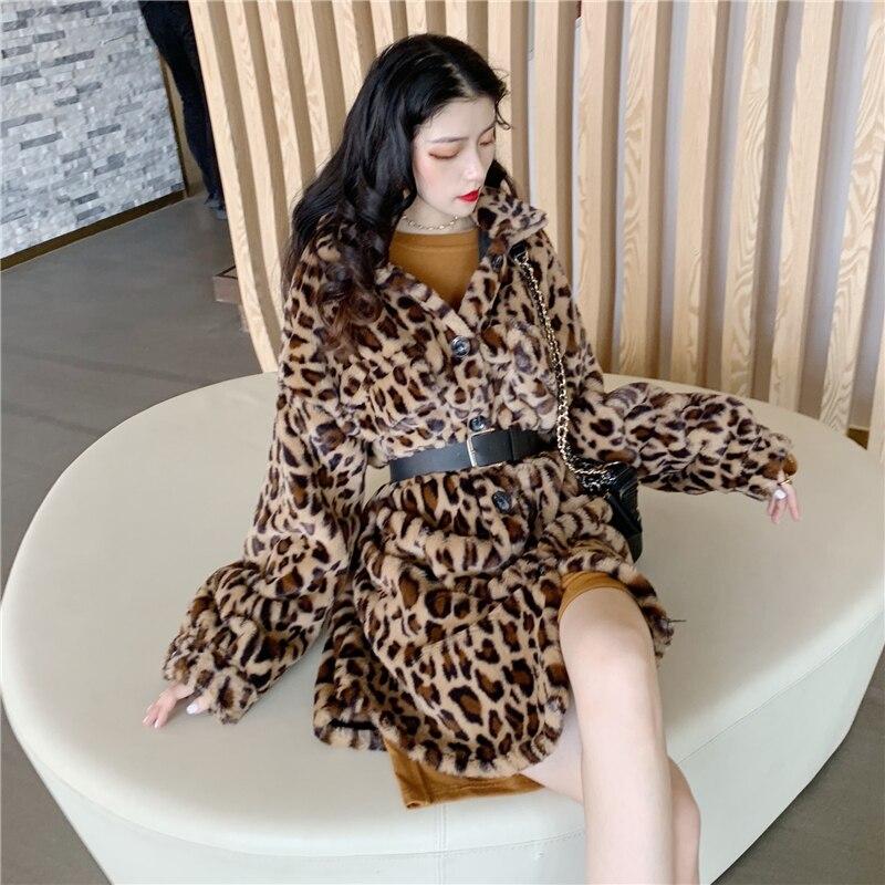 Coat Femmes Fausse Manteaux Long Avec Veste apricot Fourrure Coat Dames Hairly Chaud Ceinture Tops Survêtement Automne 2018 En Femelle Hiver Léopard Khaki w4Aqv1