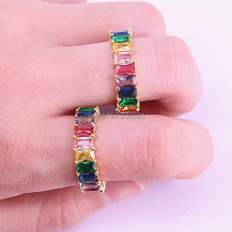 5Pcs Rainbow CZ ring colorful zirconia elegance luxury fashion gold color statement rings for women