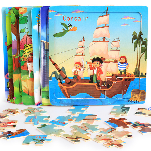 DDWE 20 pièces Puzzles en bois jouets enfants 3D dessin animé animaux Puzzle jouet enfant haute qualité bois intéressant jouets éducatifs pour bébé