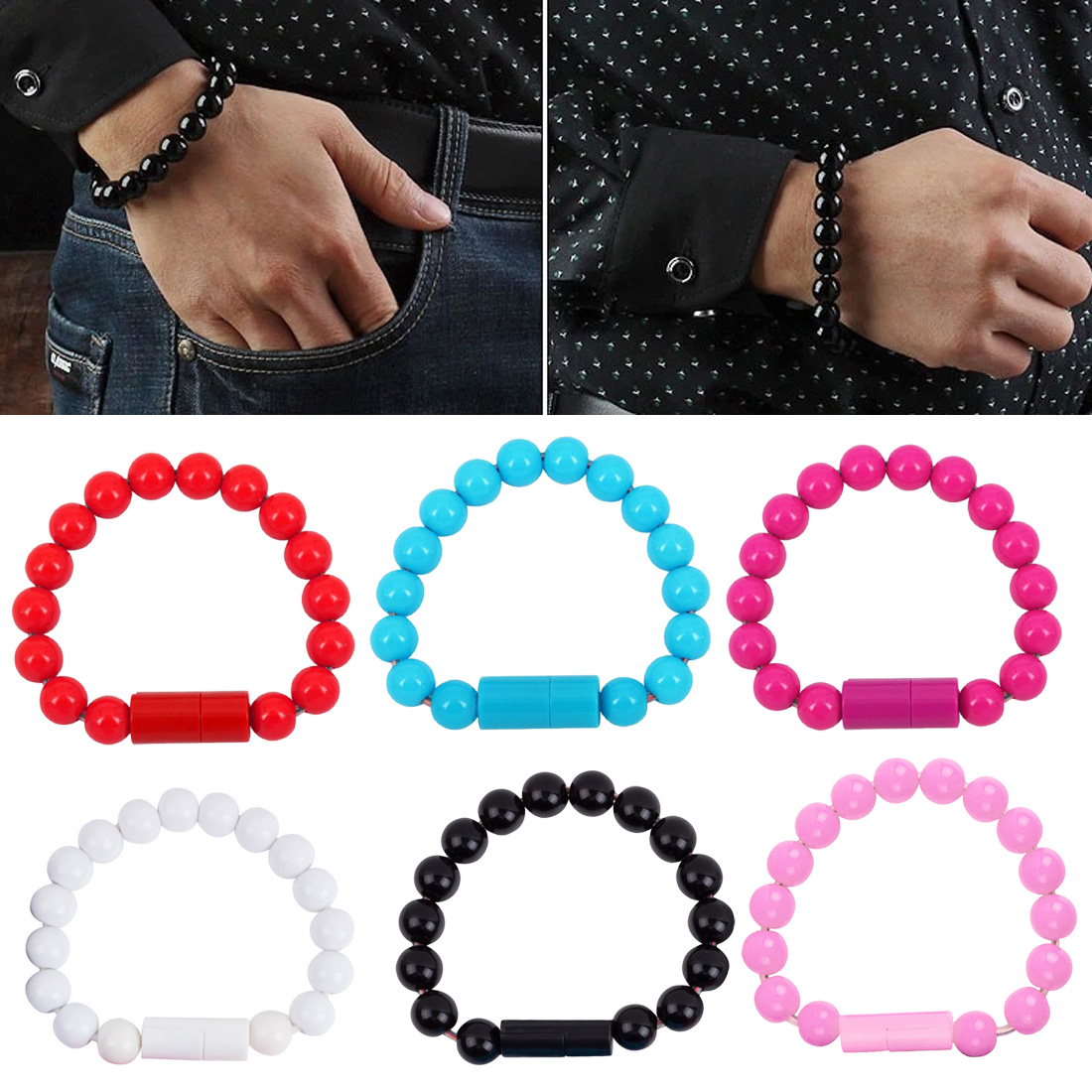 New Wearable Usb Charging Bracelet Beads Charging Cable Portable Usb