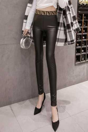 Couro de Cintura Alta Impresso Webbing Cintura Pu Calças De Couro Das Mulheres de Cintura Alta Leggings Mulheres de Alta Qualidade Não-cracking